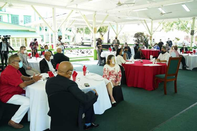 A scene from Sunday's Presidential breakfast engagement.