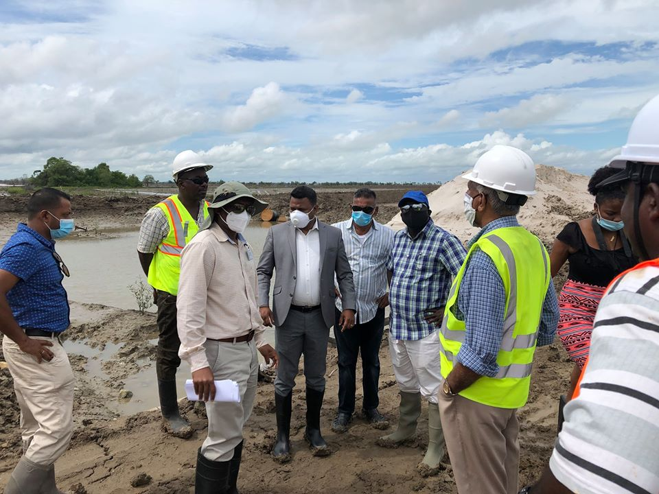Minister within the Ministry of Public Works, Hon. Deodat Indar on a site visit at the sea defence breach at Dantzig, Mahaicony earlier today