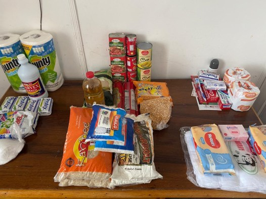 A display of items contained in the hampers.