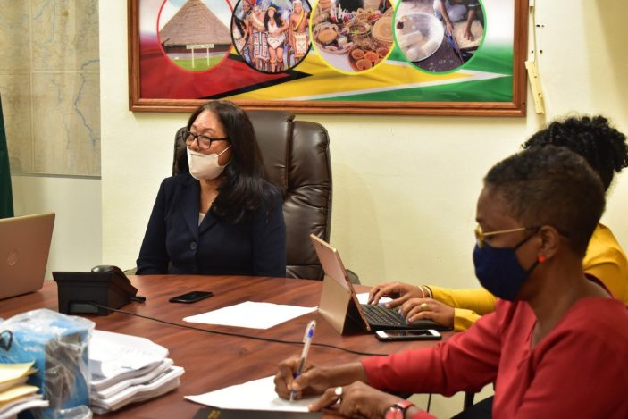 Minister of Amerindian Affairs, Hon. Pauline Sukhai, during her engagement with the staff of her Ministry