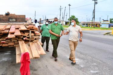 Minister of Natural Resources, Hon. Vickram Bharrat and team conducting inspections at the Soesdyke Forestry Station, accompanied by Forestry Commissioner Mr. Gavin Agard (with spectacles) and Supervisor of the station, Mr. Leroy Wilson (in safety vest)