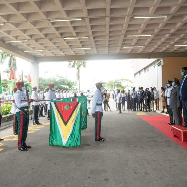 Executive President of Guyana of His Excellency Dr. Mohammad Irfaan Ali takes the Presidential salute
