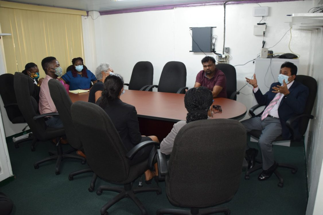 """Attorney General and Minister of Legal Affairs, Hon. Mohabir Anil Nandlall, meets with the staff of the IDB-funded project - """"Support for the Criminal Justice System Programme"""
