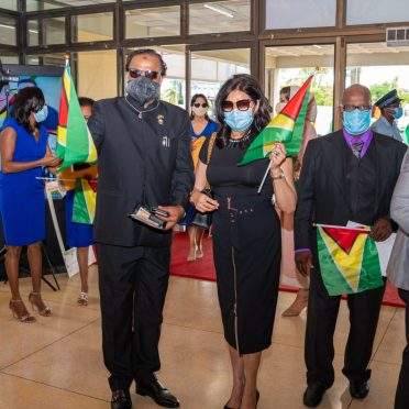 Special invitees arriving at the Inauguration ceremony of the 9th Executive President of Guyana at the National Cultural Centre (NCC).