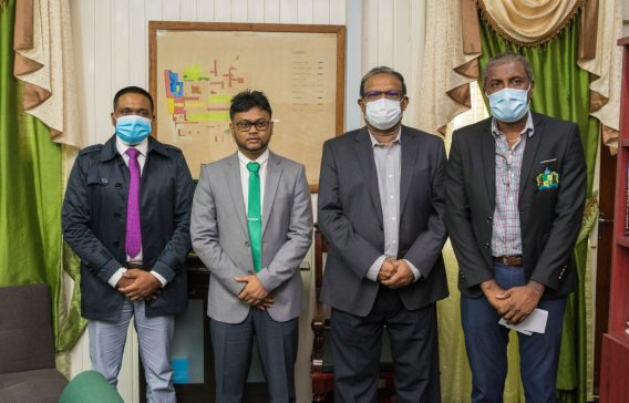 [From left to right] Minister of Local Government, Hon. Nigel Dharamlall, Mayor of Georgetown, His Worship, Ubraj Narine, Minister within the Ministry, Hon. Anand Persaud, and Deputy Mayor of Georgetown, Alfred Mentore