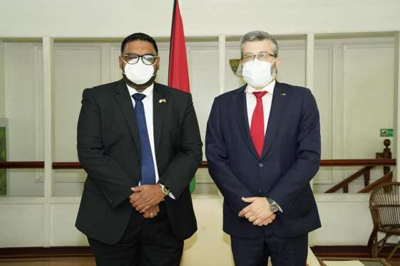 His Excellency Dr. Mohamed Irfaan Ali, President of the Cooperative Republic of Guyana and Ambassador of the European Union to Guyana, Mr. Fernando Ponz Canto