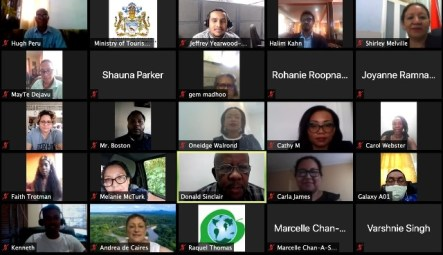 Meeting in Progress, Minister Walrond and stakeholders engage in the virtual meeting