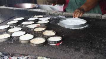 Cassava bread and quiches being freshly baked