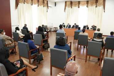President Irfaan Ali and team in discussion with the Permanent Secretaries