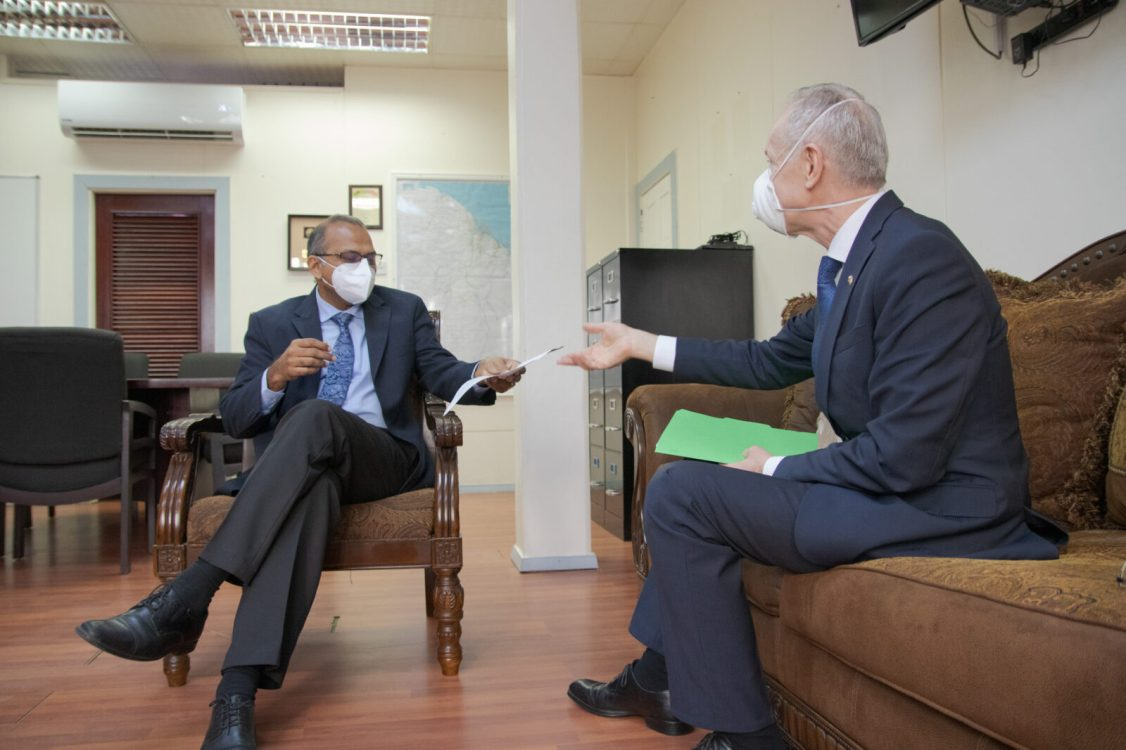 Minister of Health, Hon. Dr. Frank Anthony, in discussions with His Excellency, Alexander Kurmaz, the Ambassador Extraordinary and Plenipotentiary of the Russian Federation to the Cooperative Republic of Guyana