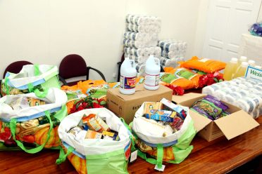 Some of the hampers presented to the Ministry of Human Services and Social Security from the Church of Jesus Christ of the Latter-Day Saints