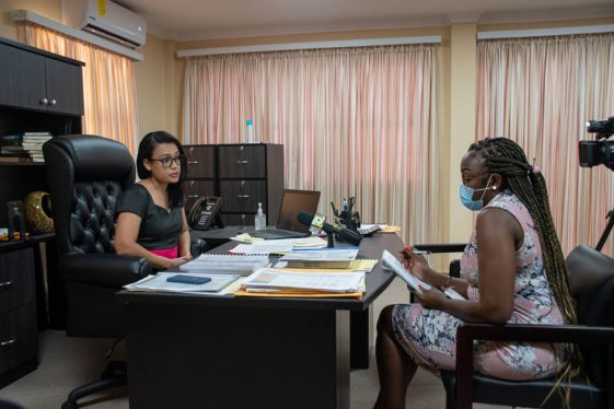 Minister within the Ministry of Housing and Water, Hon. Susan Rodrigues during the interview with the Department of Public Information at her office on Brickdam