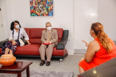 Honourable Minister of Education, Priya Manickchand in conversation with the Cuban Ambassador to Guyana Narciso Socorro, at her office