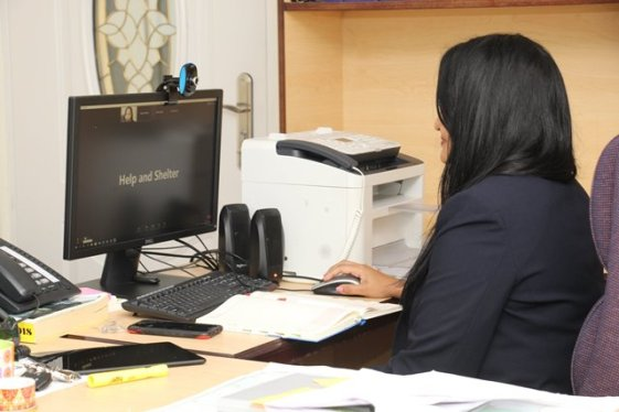 Minister of Human Services and Social Security, the Hon. Vindhya Persaud making appoint during the virtual meeting with Help and Shelter