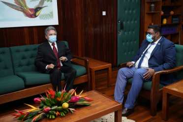 His Excellency, Dr. Mohamed Irfaan Ali, President of the Cooperative Republic of Guyana, and His Excellency, José Omar Hurtado Conteras, Ambassador of the United Mexican States.