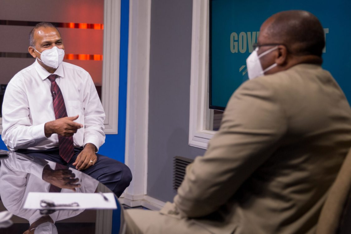 Hon. Dr. Frank Anthony, Minister of Health (left) sitting with Host, Michael Gordon of the programme 'Government in Focus'