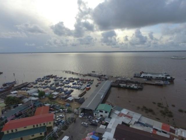 Aerial view of Parika, Region 3