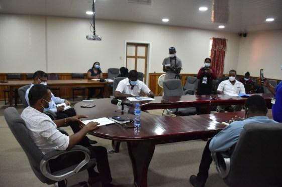 Members of Region Five's Regional COVID-19 Task Force during the meeting.