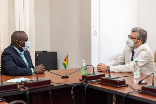 Minister of Public Affairs, within the Office of the Prime Minister, Hon. Kwame McCoy and European Union (EU) Ambassador to Guyana, His Excellency Fernando Ponz Cantó in discussion