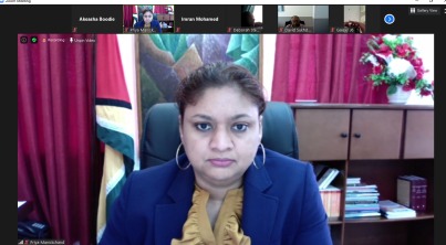 Minister of Education, Hon. Priya Manickchand in the webinar session