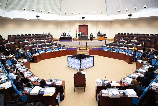 A view of the first sitting of the 12th Parliament at the Arthur Chung Conference Center