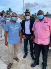 [L-R] Resident of Good Hope; Minister of Local Government and Regional Development, Hon. Nigel Dharamlall; Regional Councillor, Arnold Adams