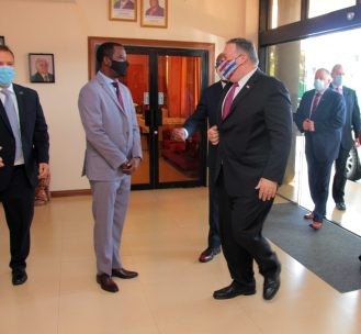 U.S. Secretary of State Michael Pompeo arrives at Ramphal House where he is greeted by Minister of Foreign Affairs and International Cooperation, the Honourable Hugh Todd