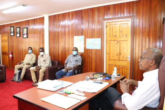 Minister of Labour, Hon. Joseph Hamilton speaking with the Executive of the Guyana Civil Service and General Workers Union (GCSGW)