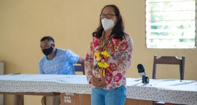 Minister of Amerindian Affairs, Hon. Pauline Sukhai addressing the residents of Fairview village, Region 9