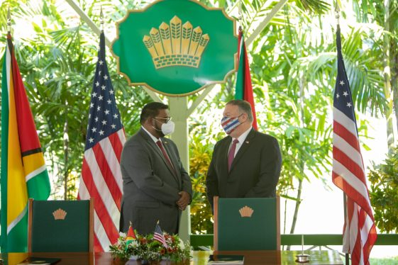 His Excellency President Dr. Mohamed Irfaan Ali and US Secretary of State Michael Pompeo