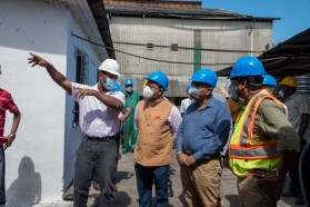 (from left) Blairmont Estate Manager Hutton Griffith shows the Indian High Commissioner, H.E. Dr. K. J. Srinivasa, Agriculture Minister and Hon. Zulfikar Mustapha and GuySuCo CEO, Sasenarine Singh around the Blairmont Estate