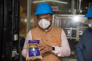 High Commissioner of India to Guyana, His Excellency Dr. K. J. Srinivasa at the Blairmont Estate packaging plant.