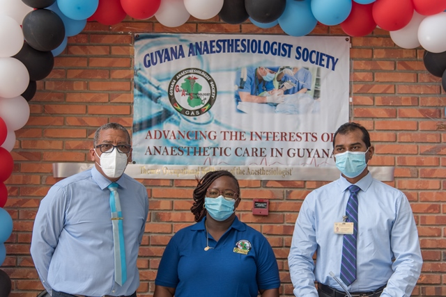From L-R: GPHC Head of Department – Anaesthesia and Intensive Care, Dr. Tallez Fernanda; President of the Guyana Anaesthesiologist Society, Dr. Onica Higgins and Head – Department of Surgery, Dr. Chetanand Mahadeo