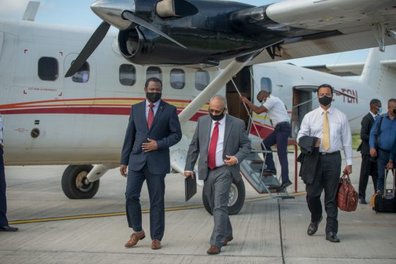 Minister of Foreign Affairs and International Cooperation, Hon. Hugh Todd and Suriname Minister of Foreign Affairs, International Business and International Cooperation, H.E Albert Ramdin upon his arrival to Guyana on Wednesday