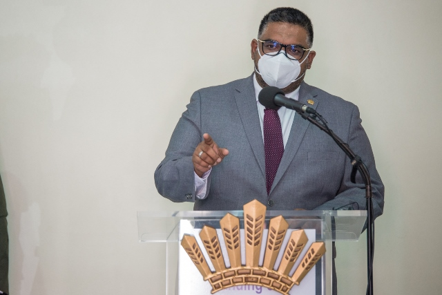 President Dr. Mohamed Irfaan Ali delivering his remarks at the handing over ceremony.