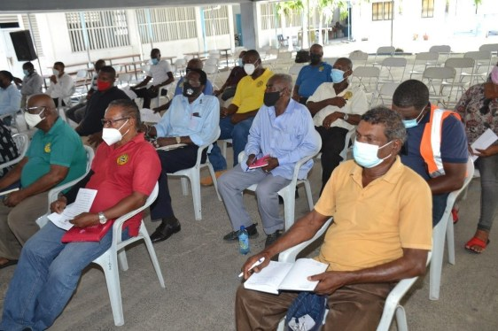Stakeholders listening to Minister of Home Affairs, Hon. Robeson Benn during the stakeholders' engagement