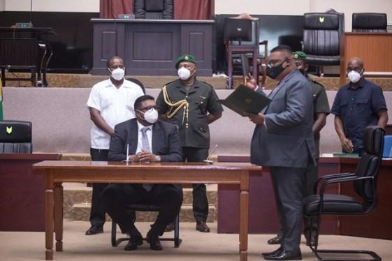 Regional Chairman of Barima-Waini (Region One) Mr. Brentnol Ashley takes the Oath of Office before President Dr. Mohamed Irfaan Ali.