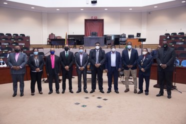 President Dr. Mohamed Irfaan Ali and the regional leaders at the close of the swearing-in ceremony today at the ACCC.