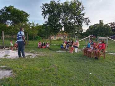 Residents of Paramakatoi, Potaro-Siparuni (Region Eight) participate in an awareness session with Senior Probation Officer, Mr. Milton Smith
