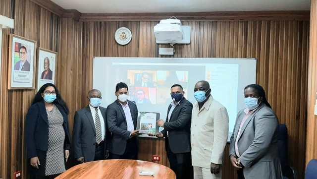 From Left: Ms. Sasha Rajkumar-Budhan, Mr. Carl Greenidge, Mr. Shyam Nokta, Hon. Vickram Bharrat, Mr. Carville Duncan, Mr. Joslyn McKenzie