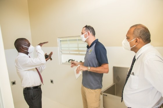Minister of Health, Hon. Dr. Frank Anthony inspects the Centre for Disease Control and Prevention at Liliendaal.