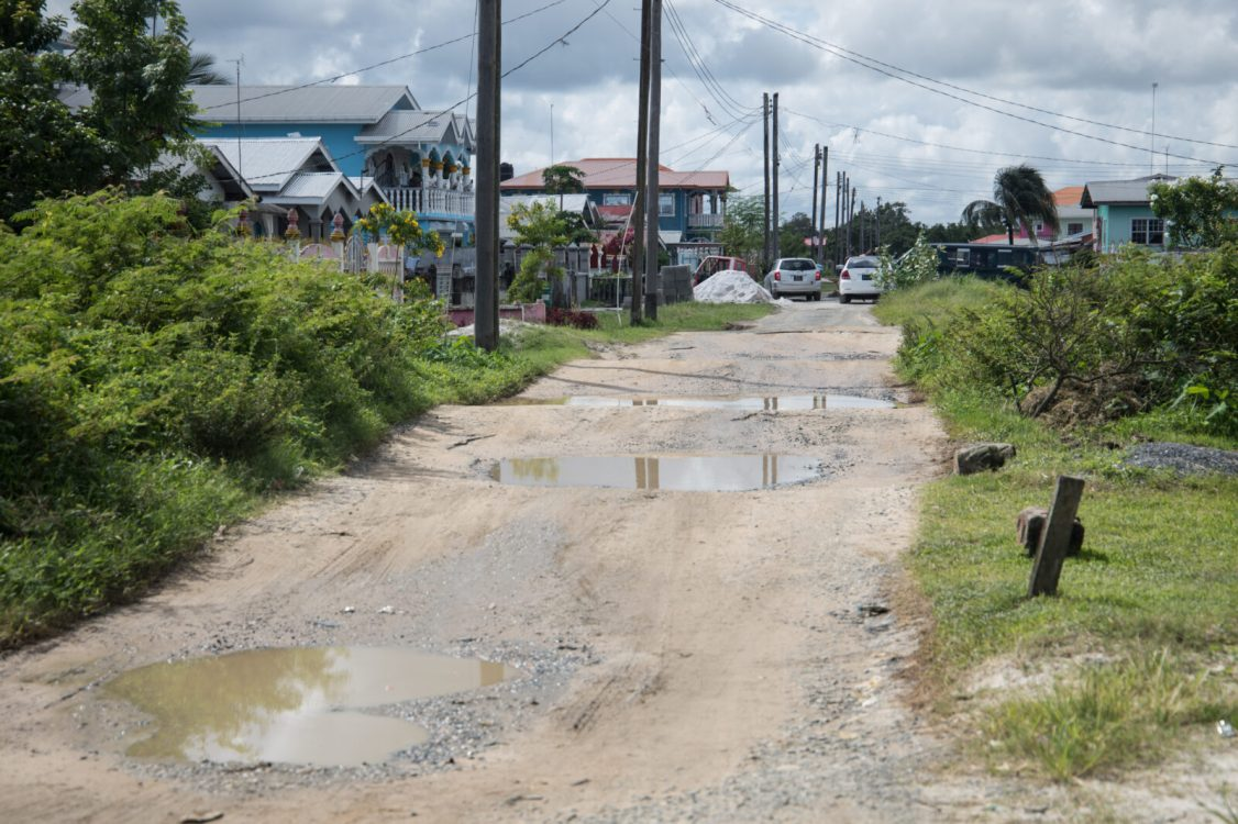One of the depilated roads in Tuschen, East Bank Essequibo