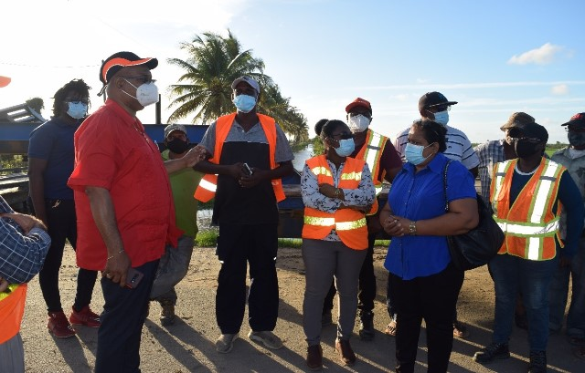 Public Works Minister, Hon. Bishop Juan Edghill meeting with residents in Cane Grove