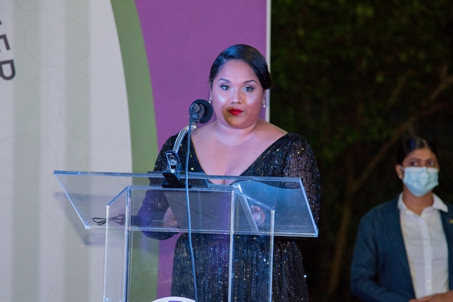 First Lady, H.E Arya Ali delivering the feature address at the Women's Chamber of Commerce and Industry Guyana's Founders' Dinner.