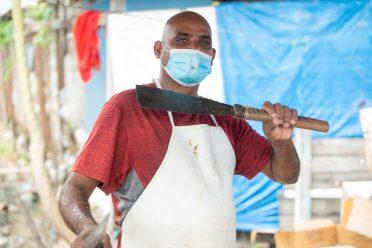 Mr. Prem Persaud, a fish vendor at Mon Repos Market