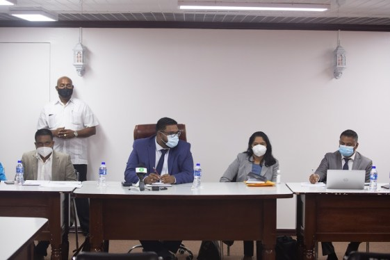 Minister of Local Government and Regional Development, Hon. Nigel Dharamlall; President Dr. Mohamed Irfaan Ali; Minister of Public Service, Hon. Sonia Parag and Minister within the Ministry of Public Works, Hon. Deodat Indar at the Region Two outreach