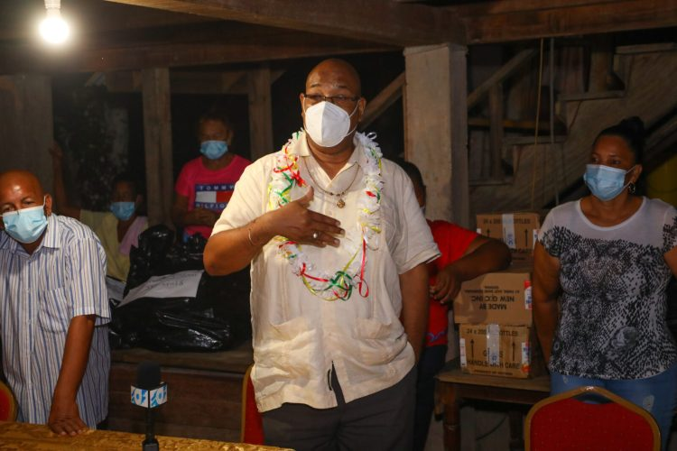 Minister of Public Works, Hon. Bishop Juan Edghill addressing residents of Kwakwani