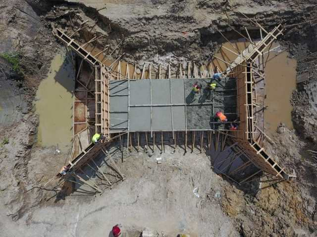 An overhead view of the ongoing works for the alternate road link between Diamond and Eccles