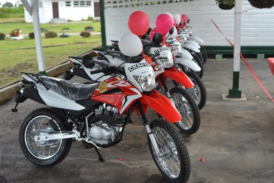 The seven motorcycles which were handed over to the GLDA to boost its agriculture extension services