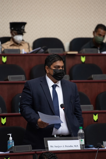 Hon. Sanjeev Datadin delivers his address today in the National Assembly